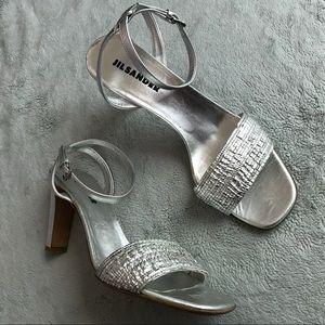 Jil Sander Silver Ankle Strap Heel Sandal 10